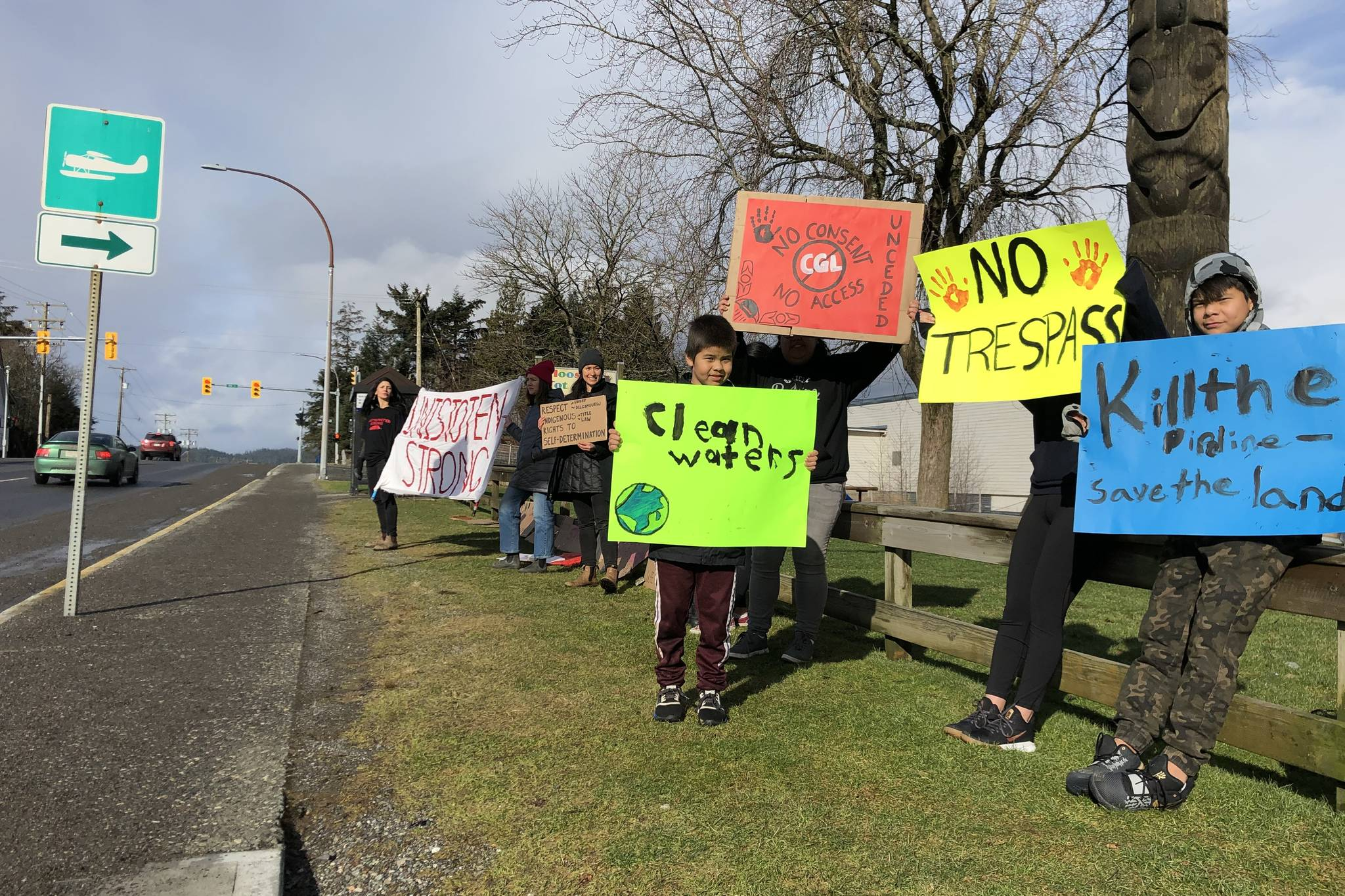 Protesters gathered on McBride Street across from the Prince Rupert RCMP station on Saturday in support of the Unist'ot'en dispute with the Coastal GasLink pipeline. On Monday, RCMP removed a resurrected blockade of CN rail lines near New Hazelton and according to unconfirmed reports arrested at least two hereditary chiefs. The blockade that halted transport to Prince Rupert was originally taken down on Feb. 13 but re-appeared on Monday was followed by Gitxsan and their supporters setting up a blockade on Hwy 16.