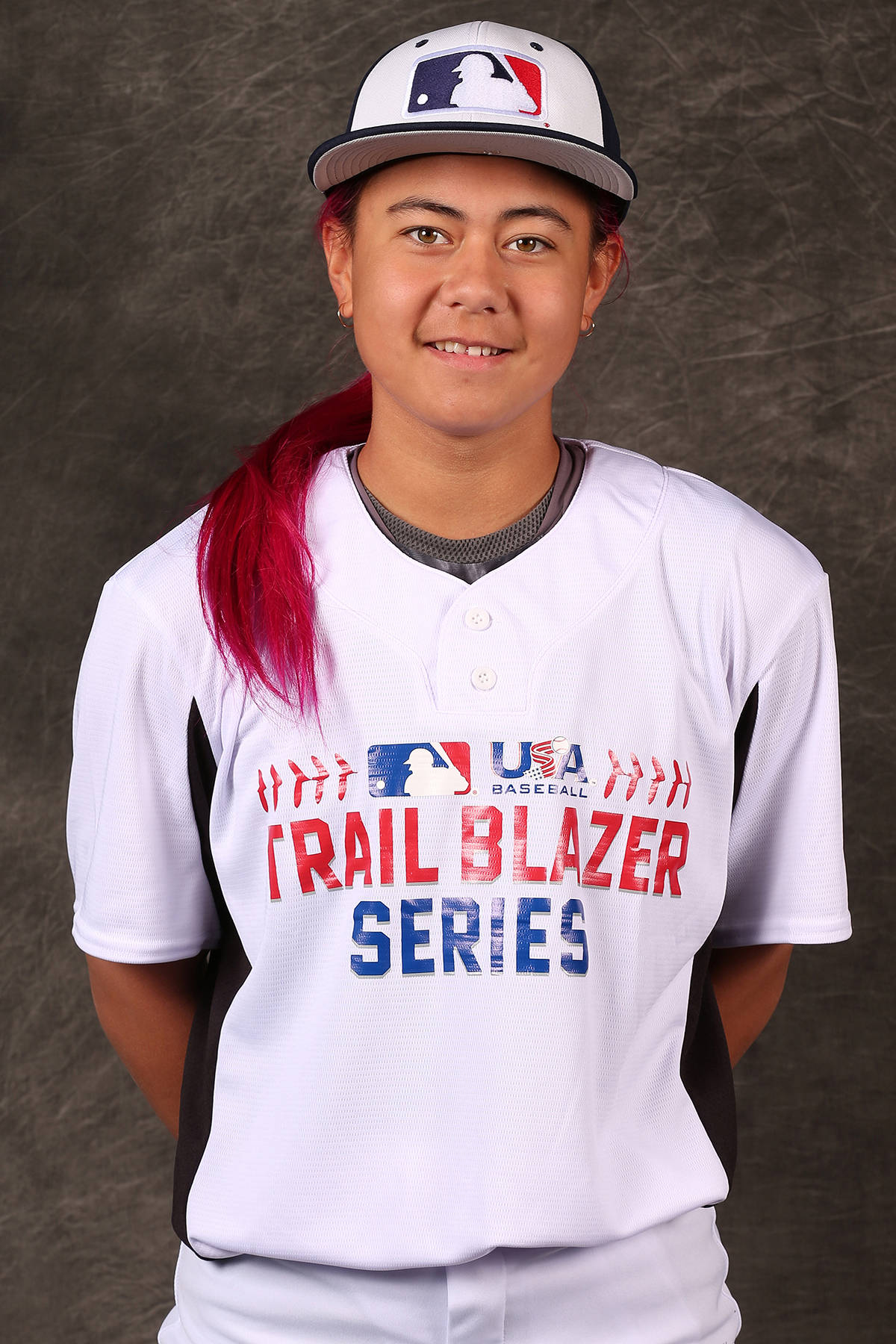 Abbotsford's Raine Padgham poses for a headshot during the Third Annual Girls Baseball Trailblazer Series at the Compton Youth Academy back in 2019. Padgham was recently named one of the most influential Canadians in the sport of baseball by the Canadian Baseball Network. (Rob Leiter/MLB Photos)